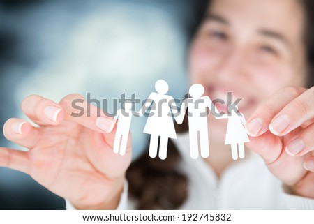 happy woman expresses the concept of family