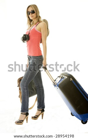 happy woman going on vacation with passport and her suitcase over a white background
