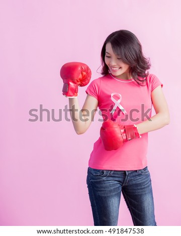 Breast cancer boxing gloves