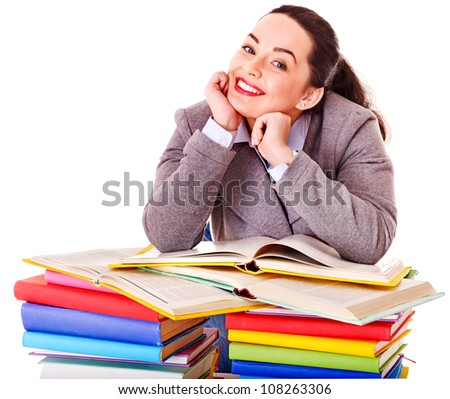 Happy woman holding book. Isolated.