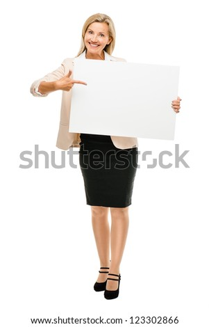 Happy woman holding placard smiling isolated on white background