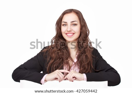 happy woman holding white blank paper - stock photo