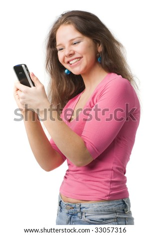 happy woman holds personal digital assistant, isolated on white