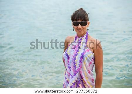 happy woman in beach - stock photo