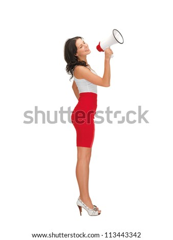 happy woman in dress with megaphone - stock photo