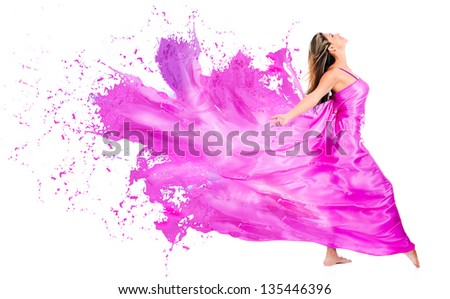 Happy woman in pink paint dress - isolated over white background - stock photo