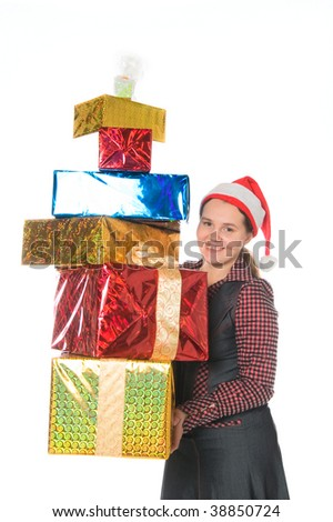 Happy woman in red cap with gifts isolated on white