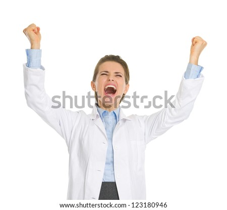 Happy woman in white robe rejoicing success - stock photo