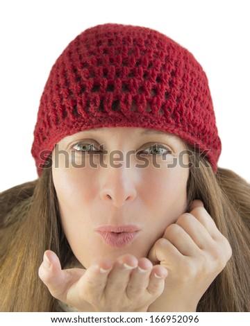 Happy woman in winter - stock photo
