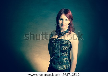 Happy woman isolated on vintage background - stock photo
