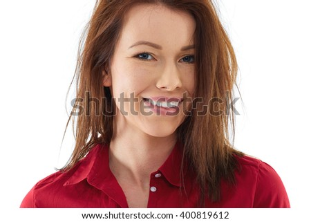 Happy woman isolated over white - stock photo