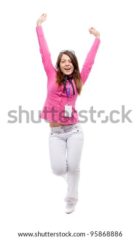 Happy woman. Isolated over white. - stock photo