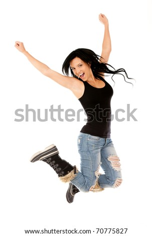 Happy woman jumping - isolated over a white background
