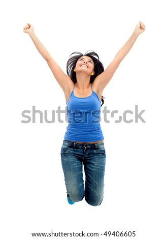 Happy woman jumping with arms up - isolated over white - stock photo