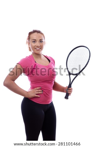 happy woman keeping fit playing tennis - stock photo