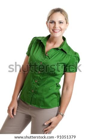 Happy woman portrait isolated on white - stock photo