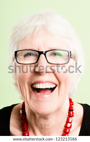 happy woman portrait real people high definition green background - stock photo