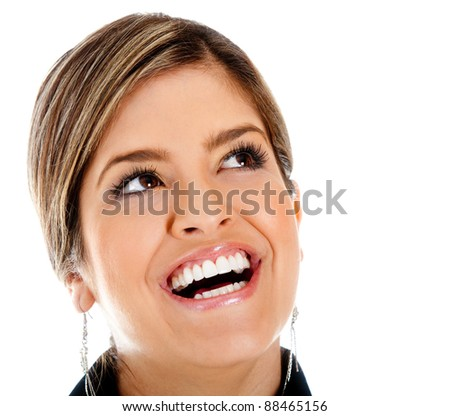 Happy woman portrait smiling - isolated over a white background