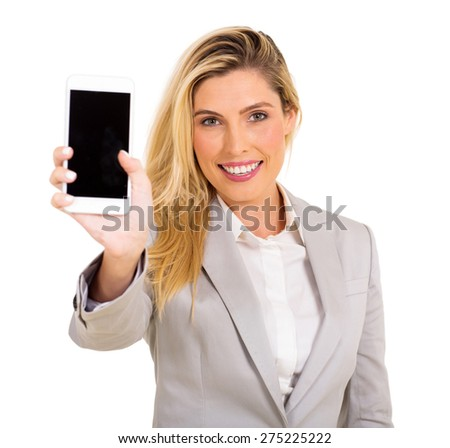 happy woman presenting smart phone over white background - stock photo