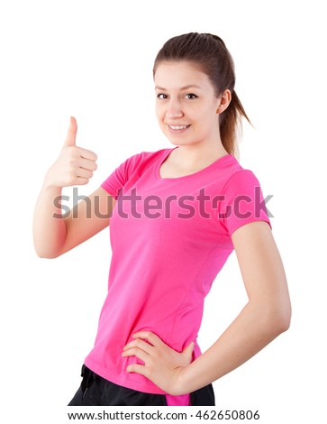 happy woman showing thumb up isolated on white