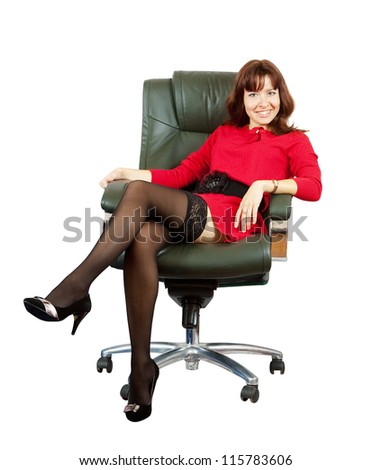 happy woman sitting on office armchair. Isolated on white background - stock photo