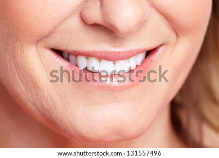 Happy woman smile. Dental care. White teeth.