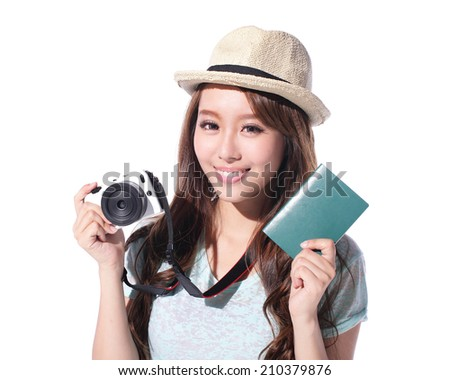 Happy woman tourist travel holding camera and passport isolated on white background, asian - stock photo