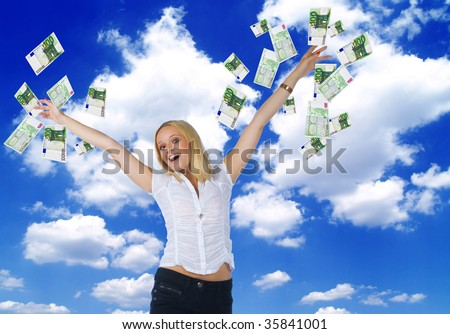 happy woman trowing euro money in the air - stock photo