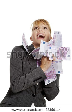 happy woman with a bunch of 500 notes