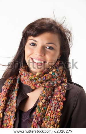 happy woman with a scarf