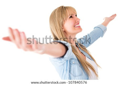 Happy woman with arms open - isolated over a white background - stock photo