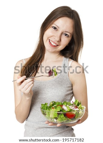 Happy Woman with bowl of salad have fan, isolated on white.