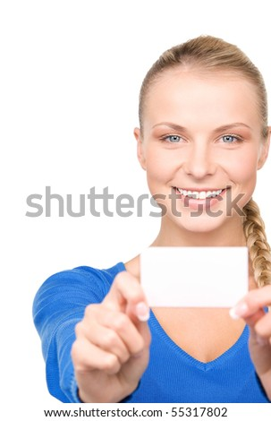 happy woman with business card over white