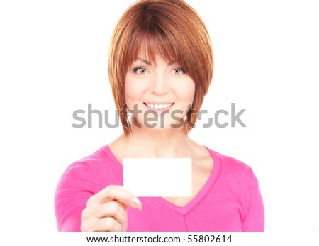 happy woman with business card over white - stock photo