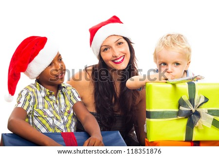 Happy woman with children celebrating Christmas, isolated on white background. - stock photo