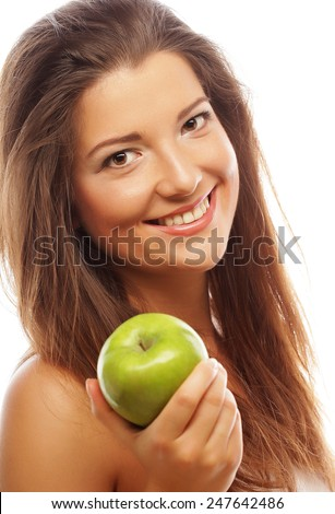 happy woman with green apple isolated on white - stock photo