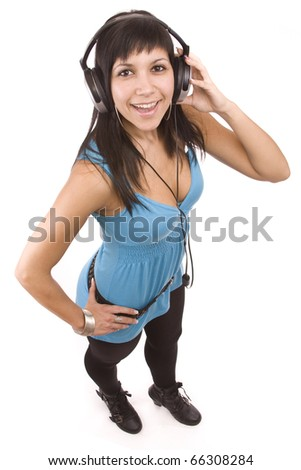 Happy woman with headphones, listen to music  image taken from above - stock photo