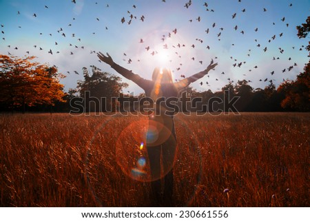 Happy woman with her arms wide open and with joy and inspiration facing the sun,sun greeting,freedom ,freedom concept - stock photo