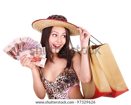 Happy woman with  money and shopping bag. - stock photo