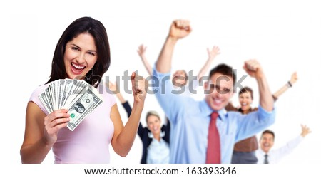 Happy woman with money. Winners people group. - stock photo