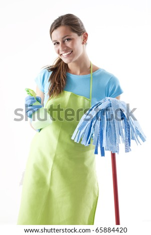 Happy Woman With Mop and Spray Bottle, White Background - stock photo