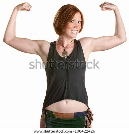 Happy woman with smile and flexing bicep muscles - stock photo