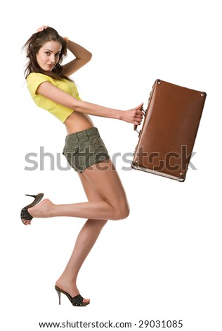 happy woman with suitcase isolated on white