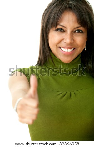 Happy woman with thumbs up isolated on white - stock photo