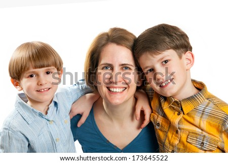 Happy woman with two sons - stock photo