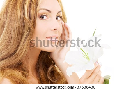 happy woman with white madonna lily flower