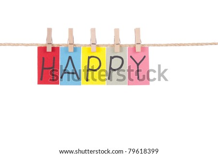 Happy, Wooden peg  and colorful words series on rope