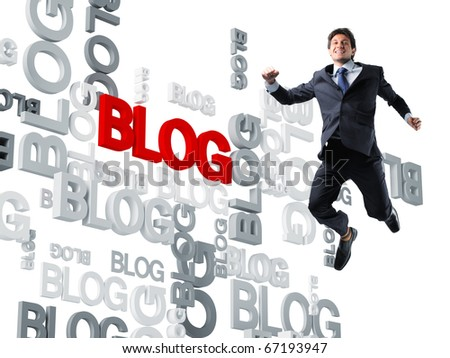 happy worker and 3d blog background - stock photo