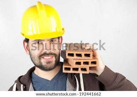 happy worker building - stock photo