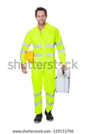 Happy worker wearing safety jacket. Isolated on white - stock photo